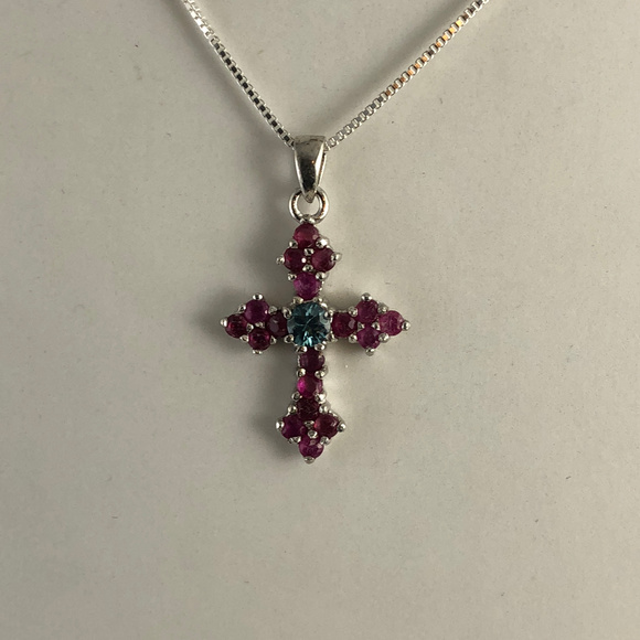Gem Emporium Other - Red Rubies Blue Zircon 925 Sterling Silver Cross